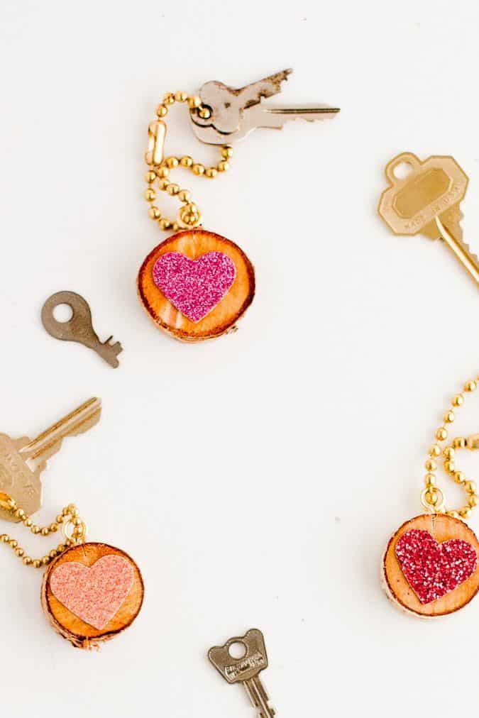 Glitter Heart Key Chain DIY
