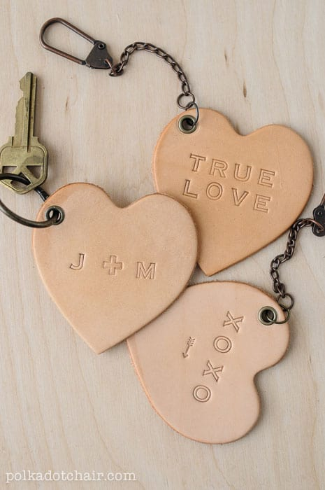 Leather Conversation Heart Keychains