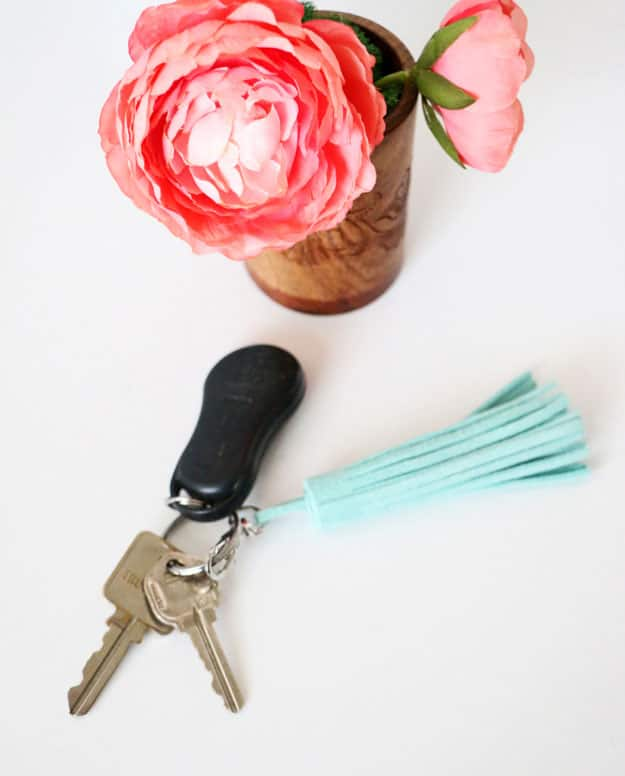 Easy DIY Leather Tassel Keychain