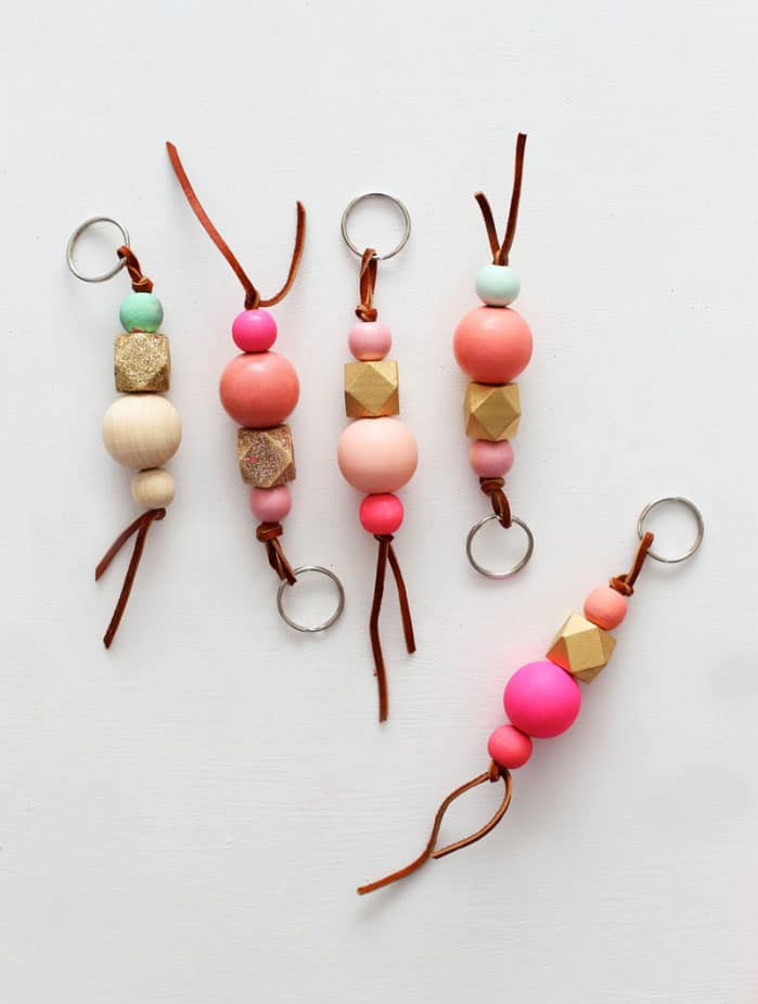 Wood Bead Keychains