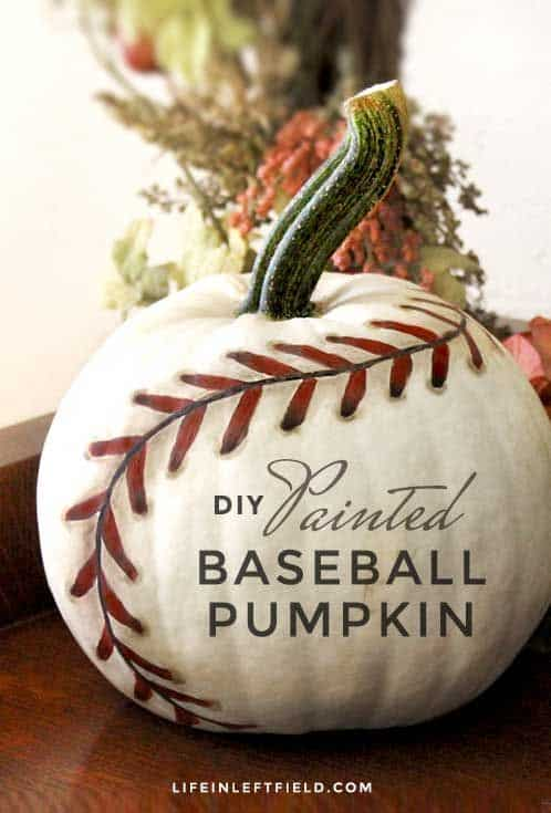 DIY painted baseball pumpkin
