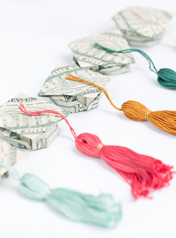 Origami Money Graduation Caps