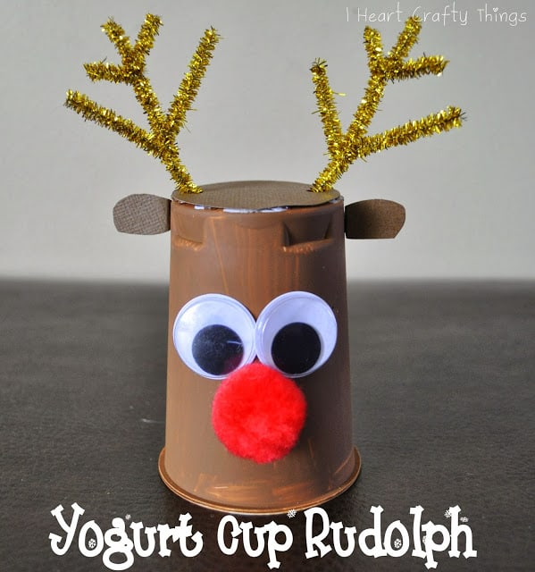 Love crafts that let us recycle things from around the home. Like turning a yogurt pot into Rudolph!