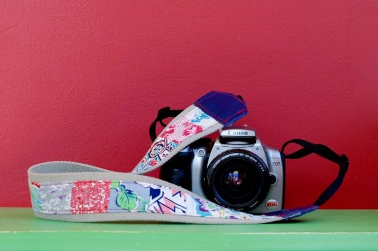 DIY Vintage Feed Sack Patched Camera Strap