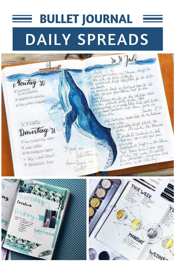 You can't help but be inspired by these gorgeous daily bullet journal layouts!