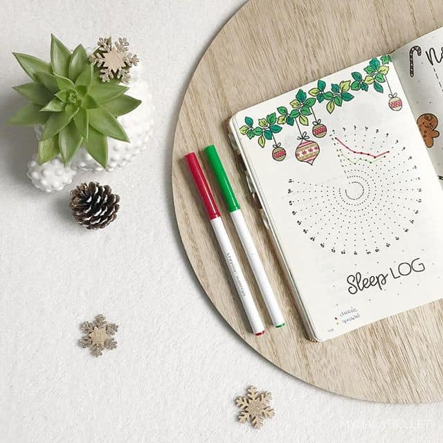 December Chirstmas Sleep Tracker for Your Bullet Journal