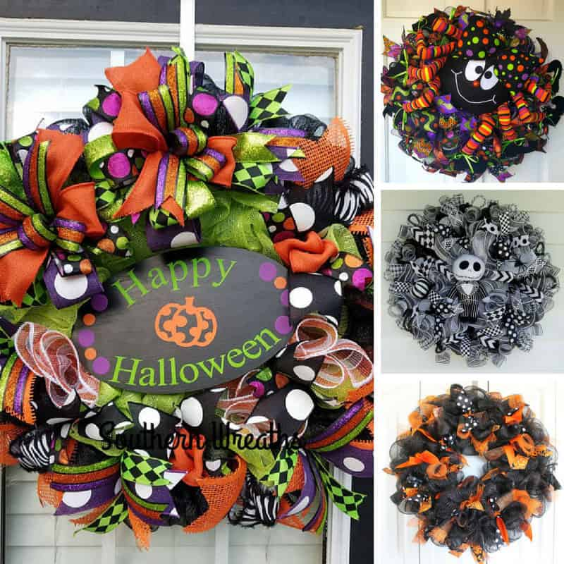 Loving these spooky deco mesh Halloween door wreaths!