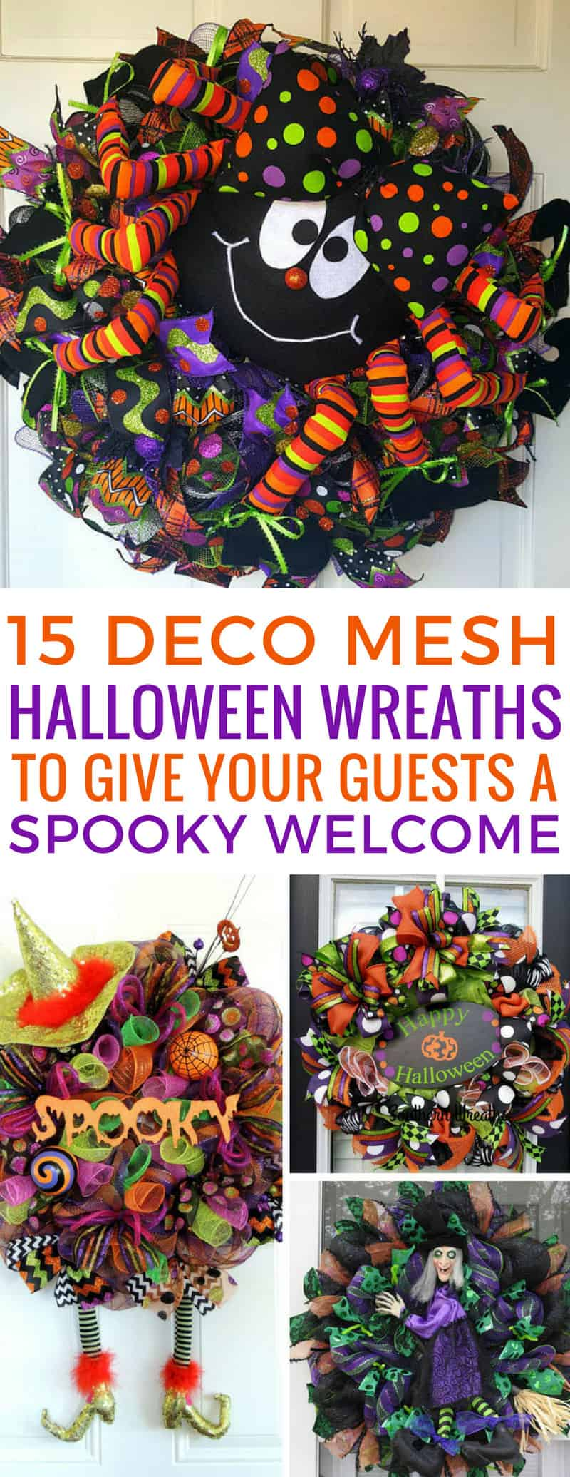 Loving these deco mesh Halloween wreaths - they're going to add some fabulous colour to my front door this Fall! Thanks for sharing!