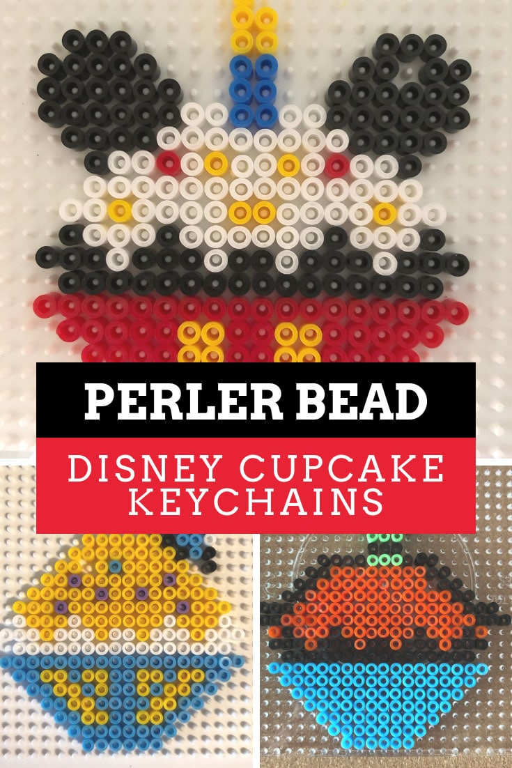 Disney Perler Bead Keychain Ideas {Cute cupcakes inspired by Mickey and Pals!}