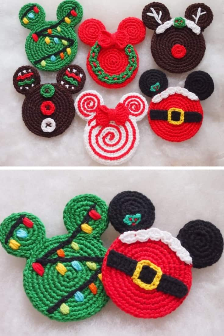 Disney Mickey Mouse Head Christmas Ornaments Crochet Pattern