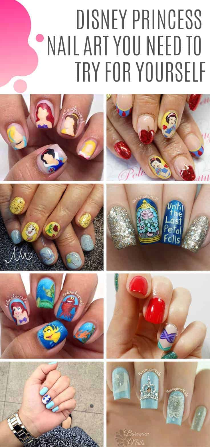 How cool are these Disney princess nail art ideas! Which is your favorite princess? Mine is Belle #disney #princess #nailart