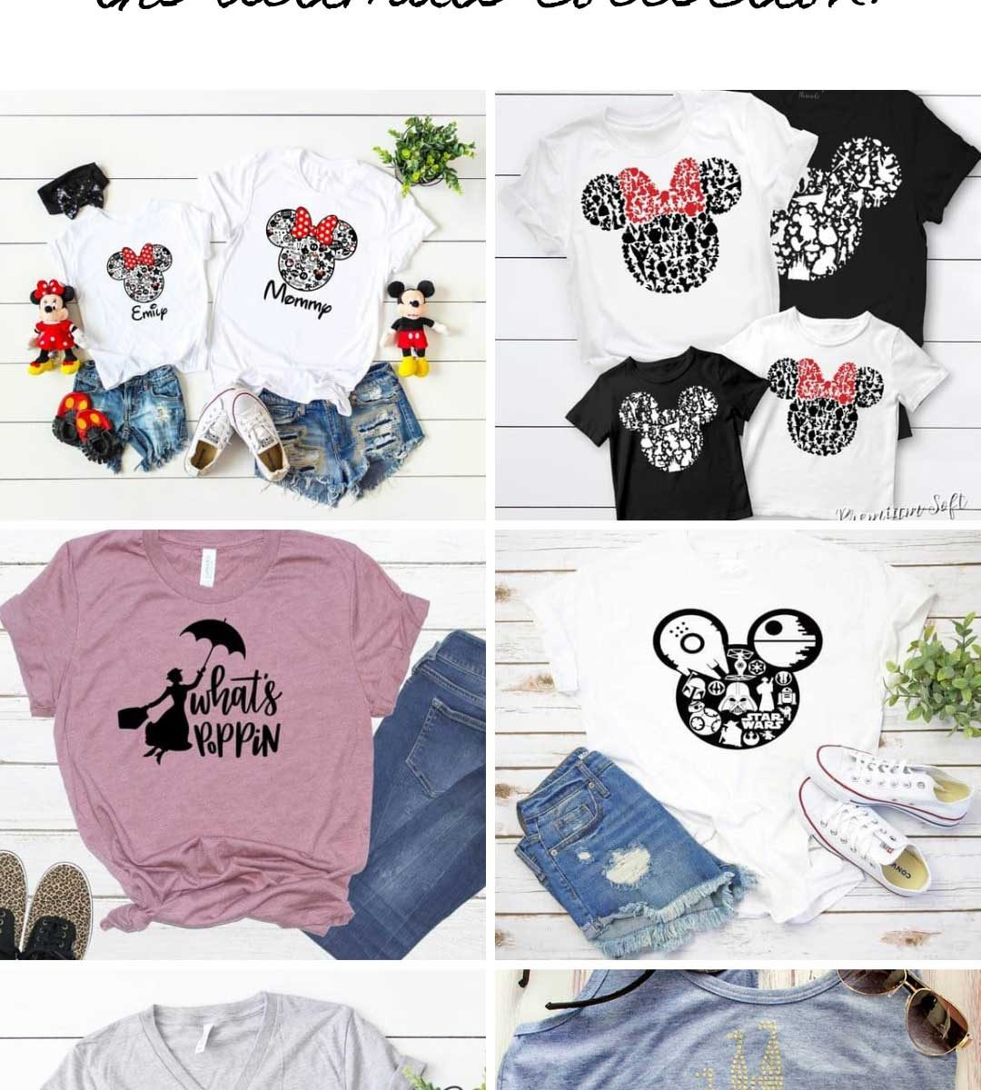This is the ULTIMATE collection of Disney shirt ideas for your vacation. From matching family shirts to Star Wars and Christmas designs there is something here for everyone to buy or DIY!