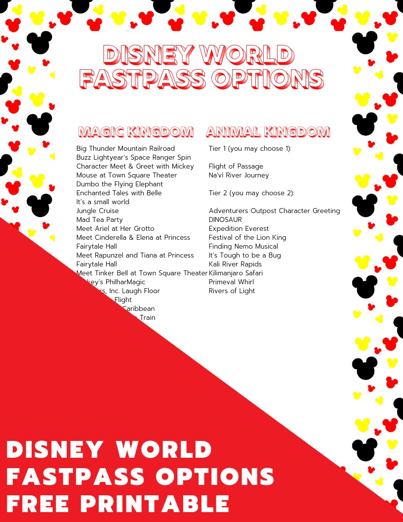 Download your free printable to help you decide which FastPasses to book on your Disney World vacation!