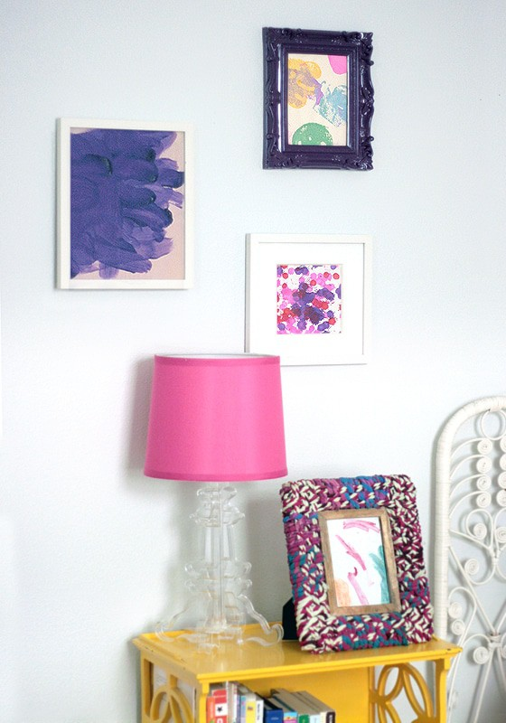 Create a gallery wall using your child's artwork