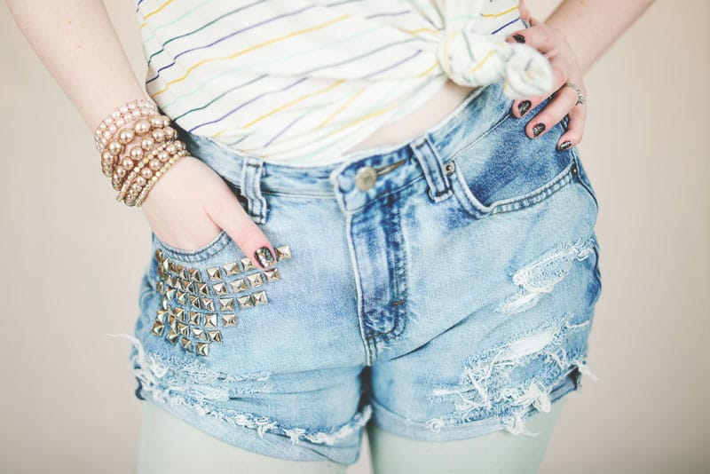 Distressed Studded Shorts