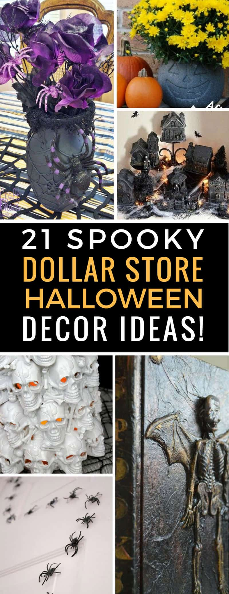 If your budget won't stretch to expensive Halloween decor this year don't worry - just head to the Dollar Store to pick up supplies for these spooky DIYs! | Halloween | Dollar Store Crafts | DIY | Decor | Party | Just Bright Ideas