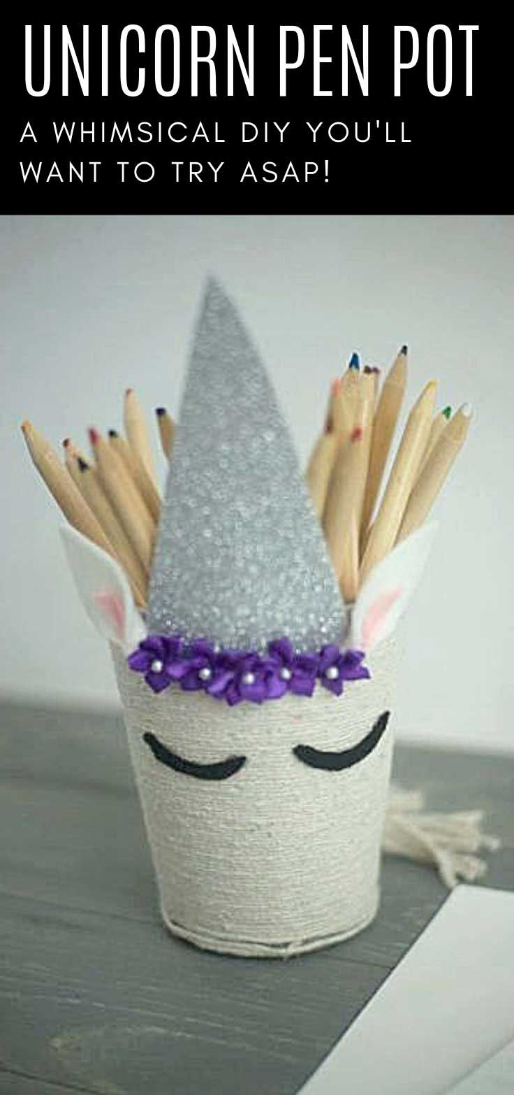 Watch our video tutorial to see how to turn a boring old mesh pen holder into a fabulous unicorn pencil pot!