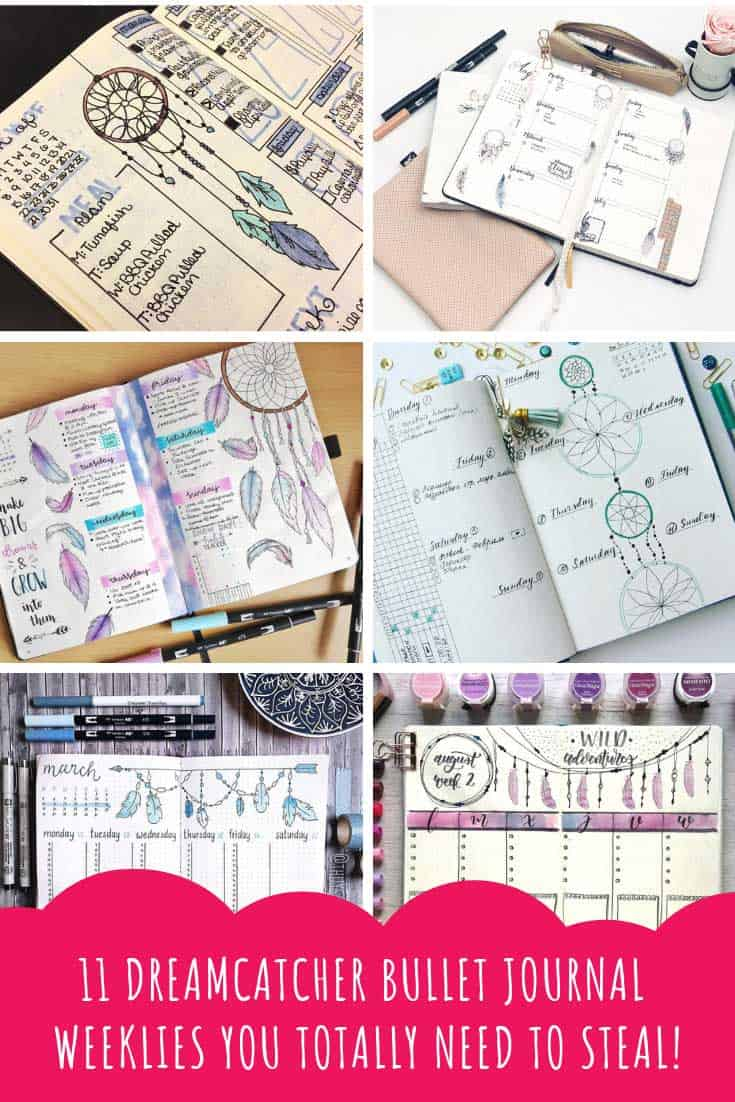 These dreamcatcher bullet journal weekly spread ideas are whimsical and boho and will hopefully inspire you to try one yourself