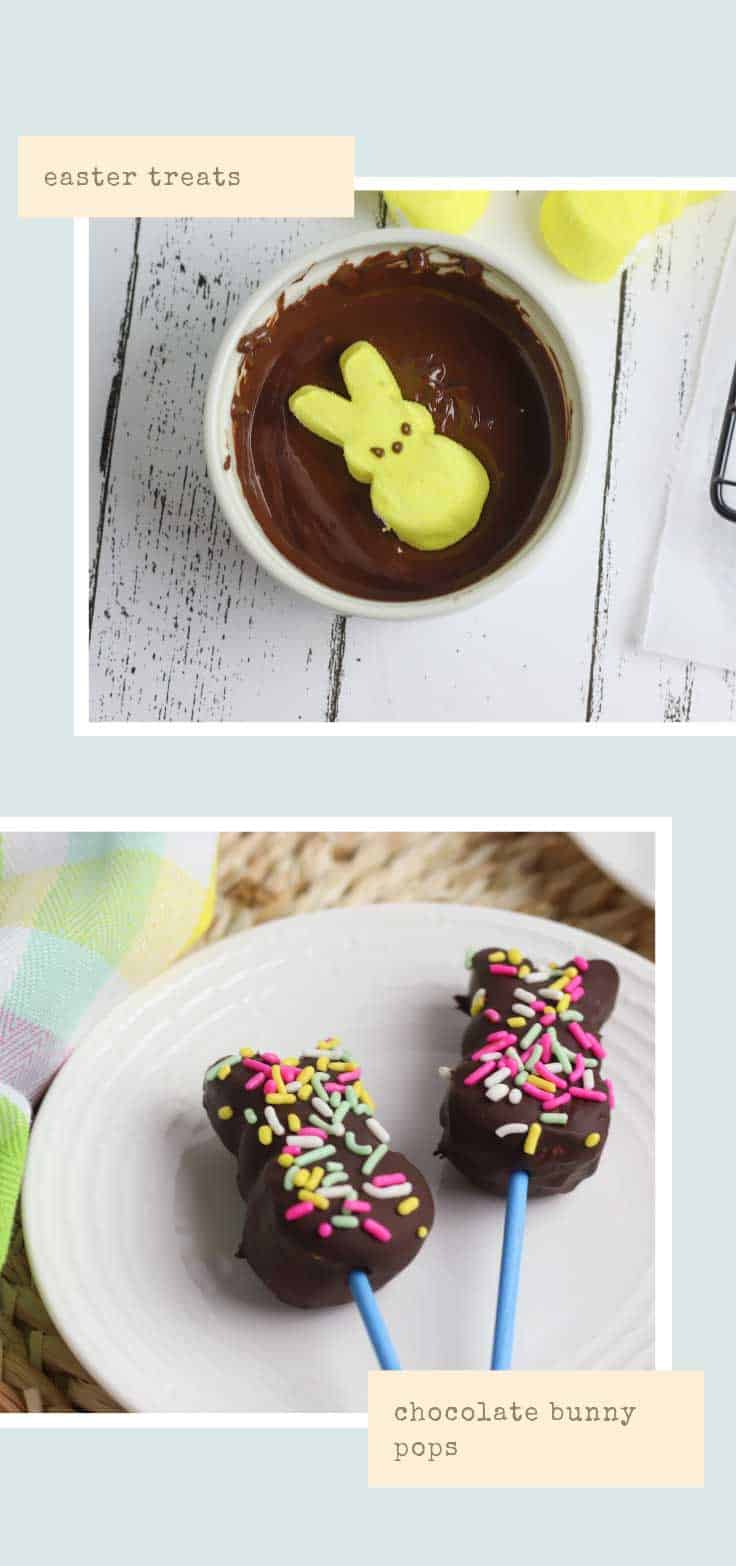 Do you know the only thing better than a marshmallow peep bunny treat? A marshmallow peep bunny treat that's smothered in chocolate!