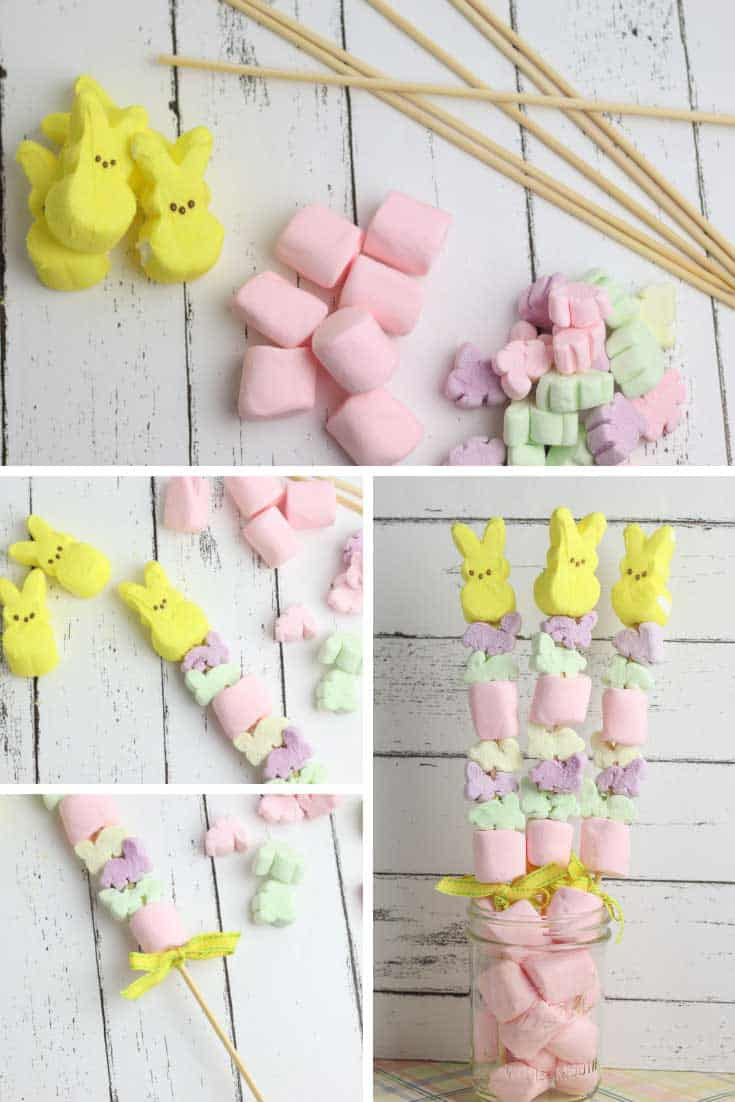 How cute are these Easter bunny peep treats! They look great in a mason jar as a party centerpiece and they're so easy to make the kids can join in the fun!