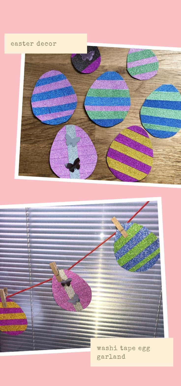 This easter egg garland is so easy even your kids can join in the fun! The eggs are decorated with Washi tape and this is fabulous Easter decor!