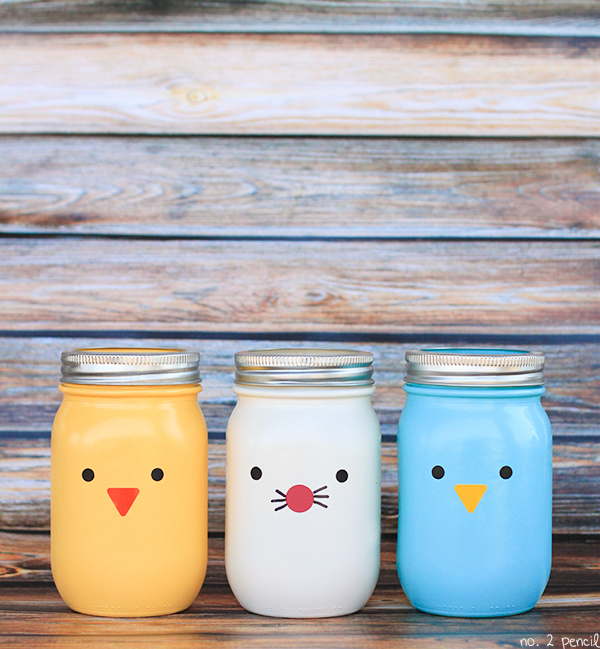 Spray Painted Easter Mason Jar Craft