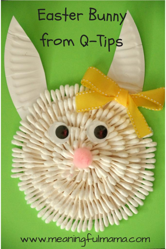 Easter Bunny Craft with Q-Tips - Meaningfulmama.com