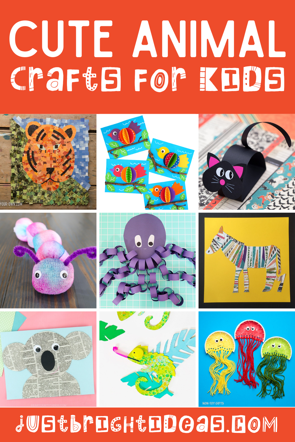 Loving these cute animal crafts for kids of ages to do at home. From paper collage and pom poms to origami and paper plates you're bound to have the craft supplies you need! #craftsforkids