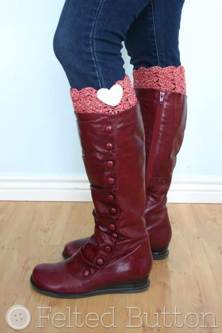 Easy Boot Cuff Crochet Pattern – Heart Detail