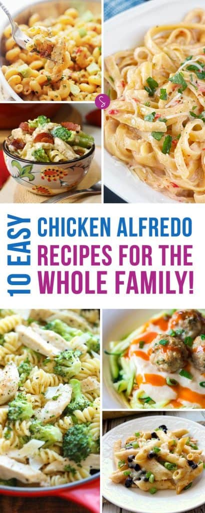 These easy Chicken Alfredo recipes look DELICIOUS! Perfect for the family to enjoy together.