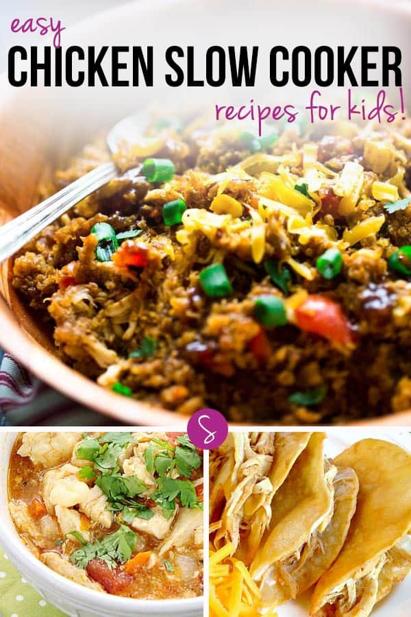 Easy Chicken Slow Cooker Recipes for Kids: From Nachos to Taco Soup and BBQ Pulled Chicken. A fabulous collection of family friendly crock pot recipes!