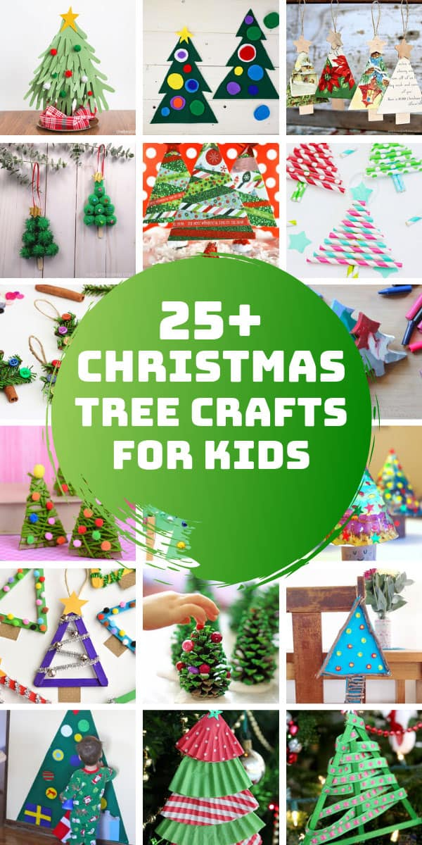 So many easy Christmas tree crafts for kids to make this Holiday season. #christmas #christmascrafts #kids #crafts