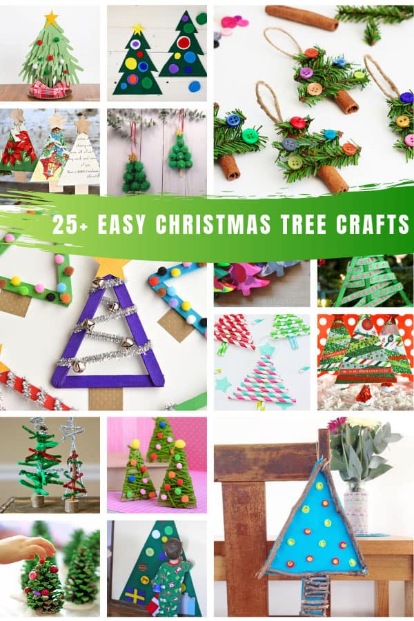 So many easy Christmas tree crafts for toddlers and preschooler to have fun making! #christmas #christmastree #christmascrafts
