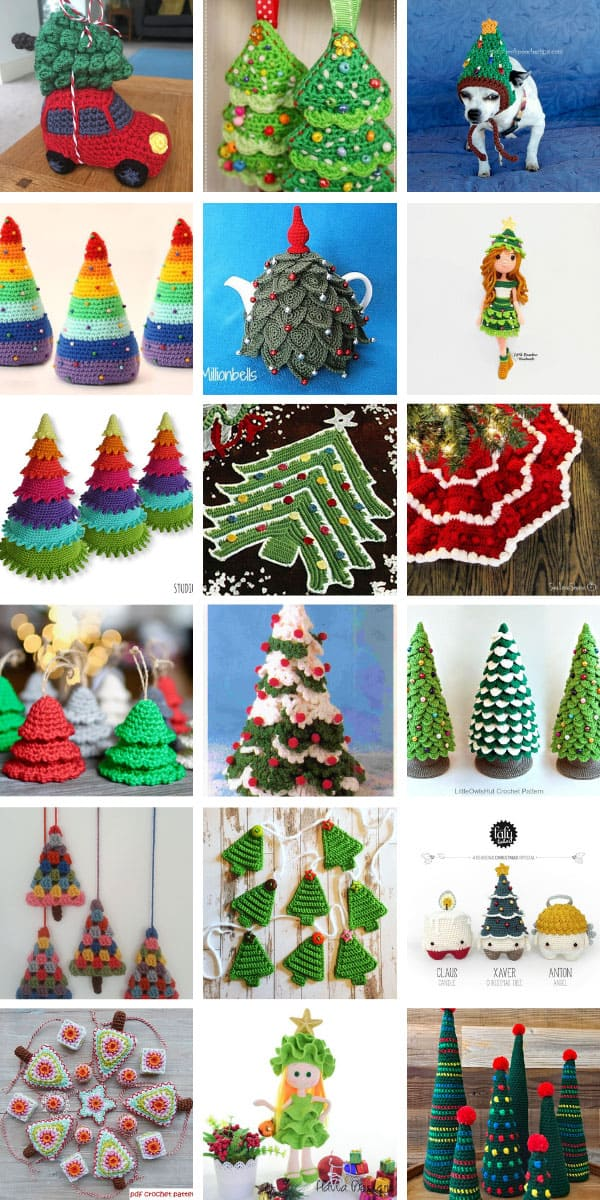 Wow! So many easy Christmas tree crochet patterns to make this Holiday season. Perfect for gifts and Holiday decor for the home. #christmas #christmascrochet #chrochetpatterns #christmastrees