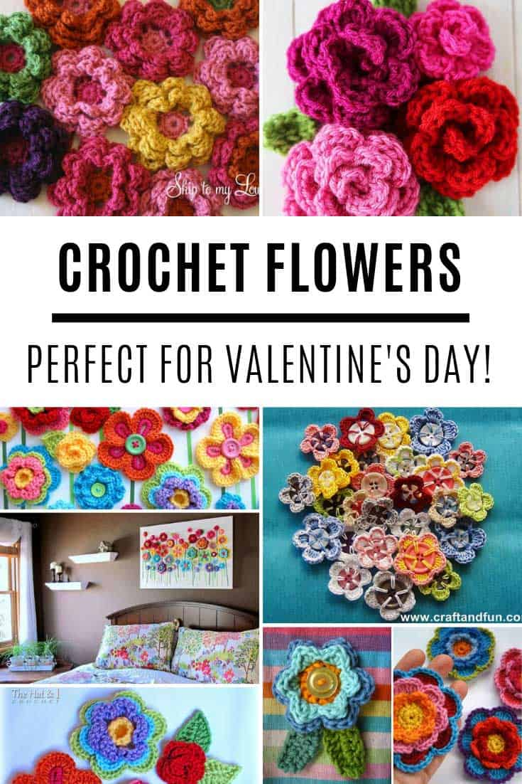 These easy crochet flower projects are perfect for Valentine's Day!