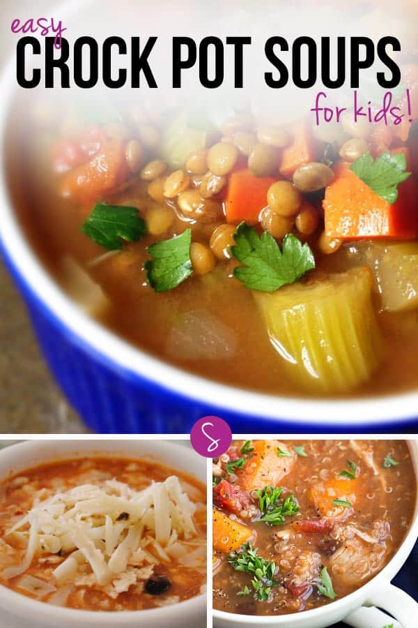 Easy Crock Pot Soups for Kids: 12 delicious soups to warm those tummies on chilly days. Perfect for busy moms because the slow cooker does the work!