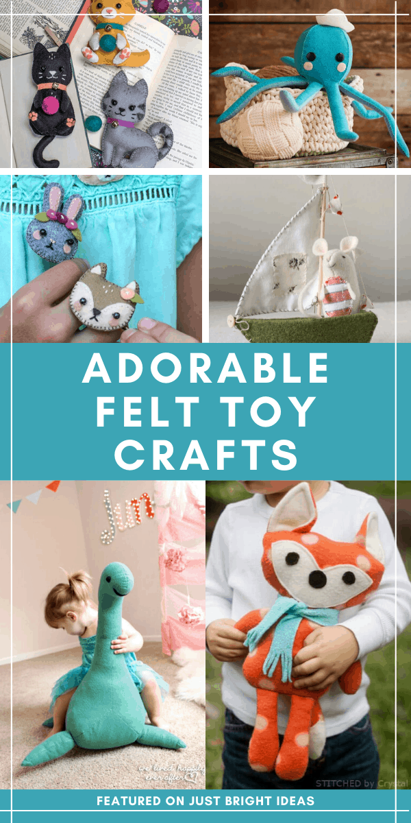 These DIY felt toy patterns make the most adorable playmates and the patterns are easy to follow even if you're just a beginner