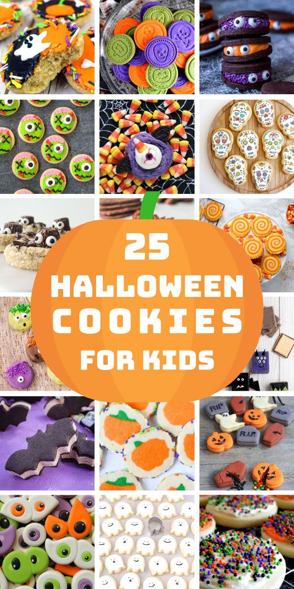 These easy Halloween cookies for kids are so much fun and perfect for trick or treaters and parties! #halloween #halloweencookies