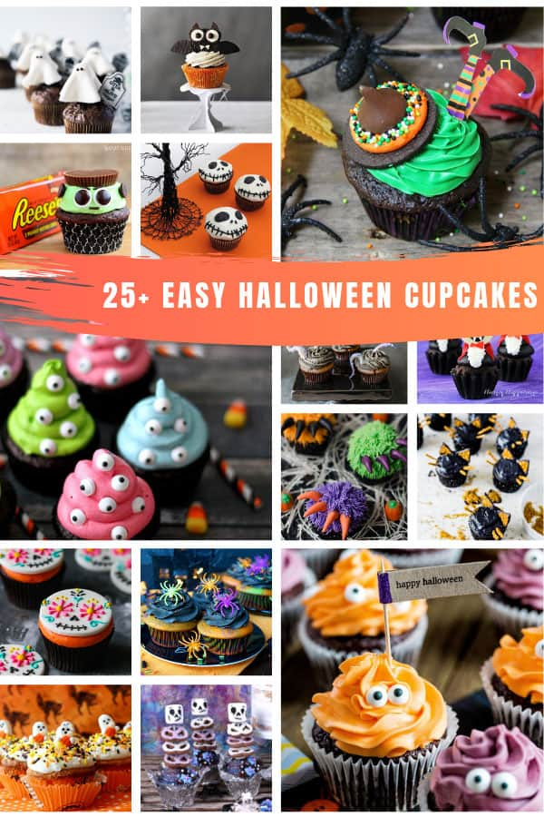 Yum! So many easy Halloween cupcakes for kids and ways to decorate them! Perfect for parties and trick or treaters! #halloween