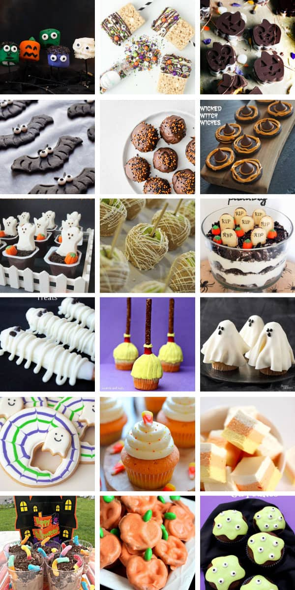 Yum! So many easy Halloween treats for kids to make - they're perfect for parties, trick or treaters or just to take to school! #halloween #halloweenfood