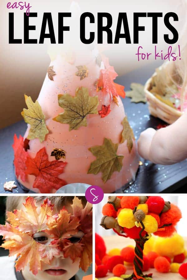 Easy Leaf Crafts for Kids: The leaf mask looks adorable and that pompom tree a lot of fun!