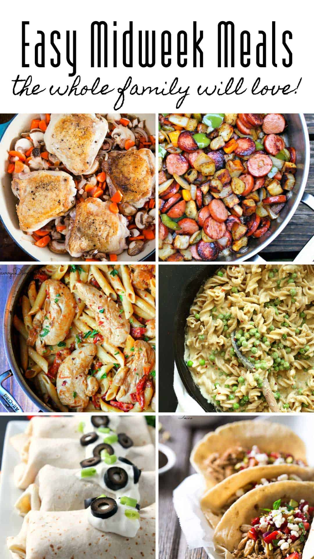 These easy midweek dinners and kid approved and you can have them on the table in under 30 minutes! #dinner #recipes #midweekmeals
