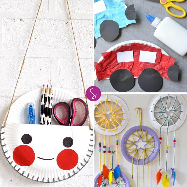 You see a boring white paper plate - turn it into a dream catcher or a stationery holder!