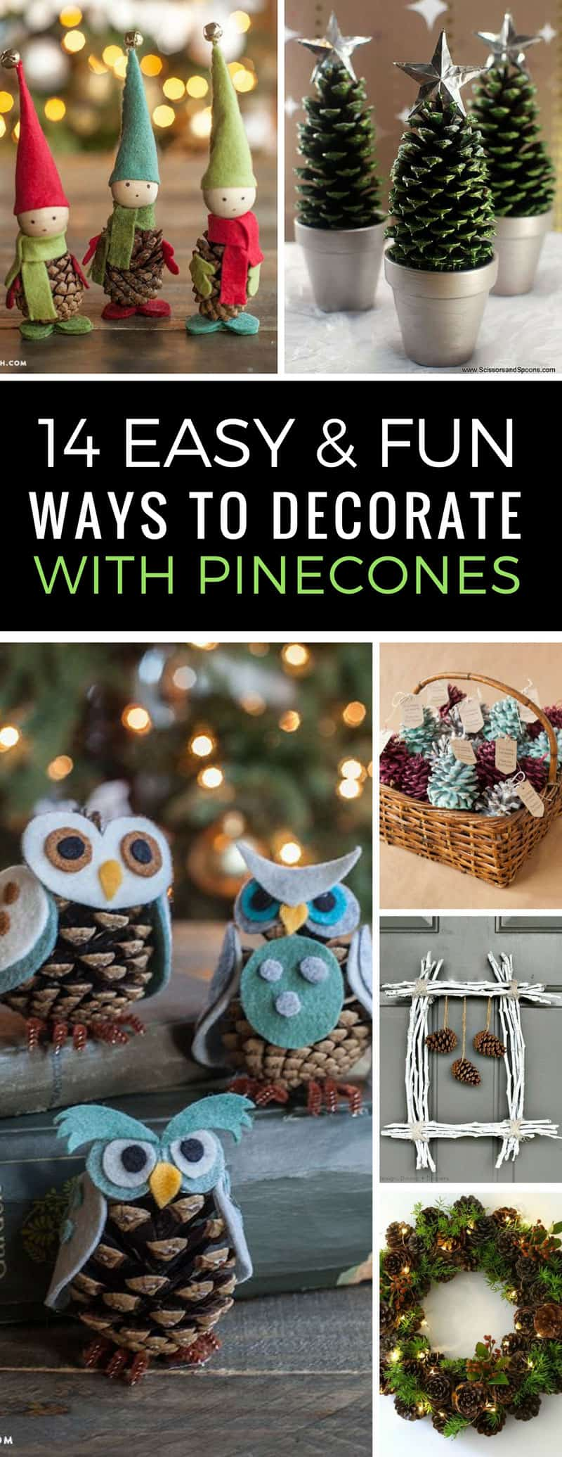 Easy Pinecone Crafts for Christmas - These DIY decor ideas are just what I needed since the kids always collect more pinecones than we know what to do with! Love that they look great but are easy to make and inexpensive too! | Pinecone Decor | Christmas DIY | Just Bright Ideas
