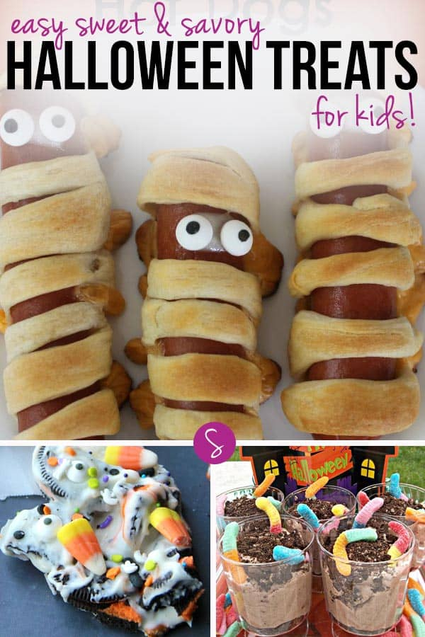 Easy Halloween Treats for Kids: Delicious sweet and savory treats. Perfect for a party or just for a Halloween movie night with your family!