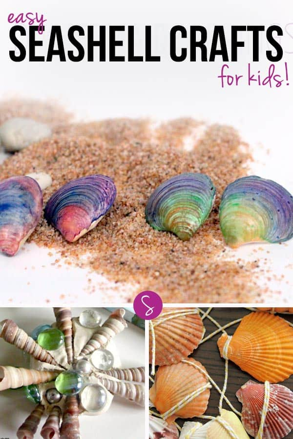 Easy Seashell Crafts for Kids: Capture your memories from the beach this summer by turning your shells into wall hangings or mermaid earrings!