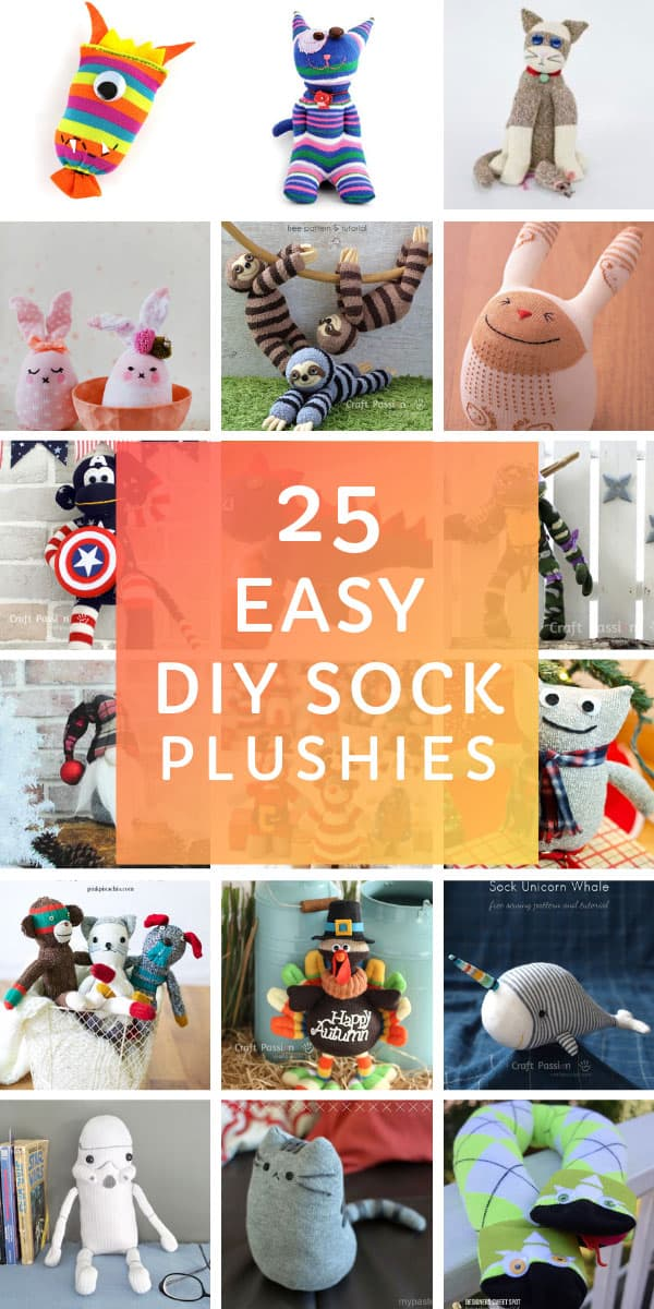 How cute are these easy sock plushies for kids! You'll have as much fun making them as your kids will have playing with them!