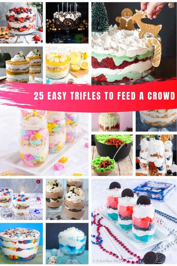 Loving these easy trifle recipes to feed a crowd whatever the Holiday or occasion! #dessert #recipes #christmas #trifle