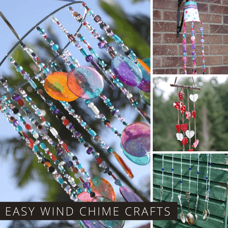 Loving these diy wind chime projects - easy crafts for kids to make and they brighten up the garden