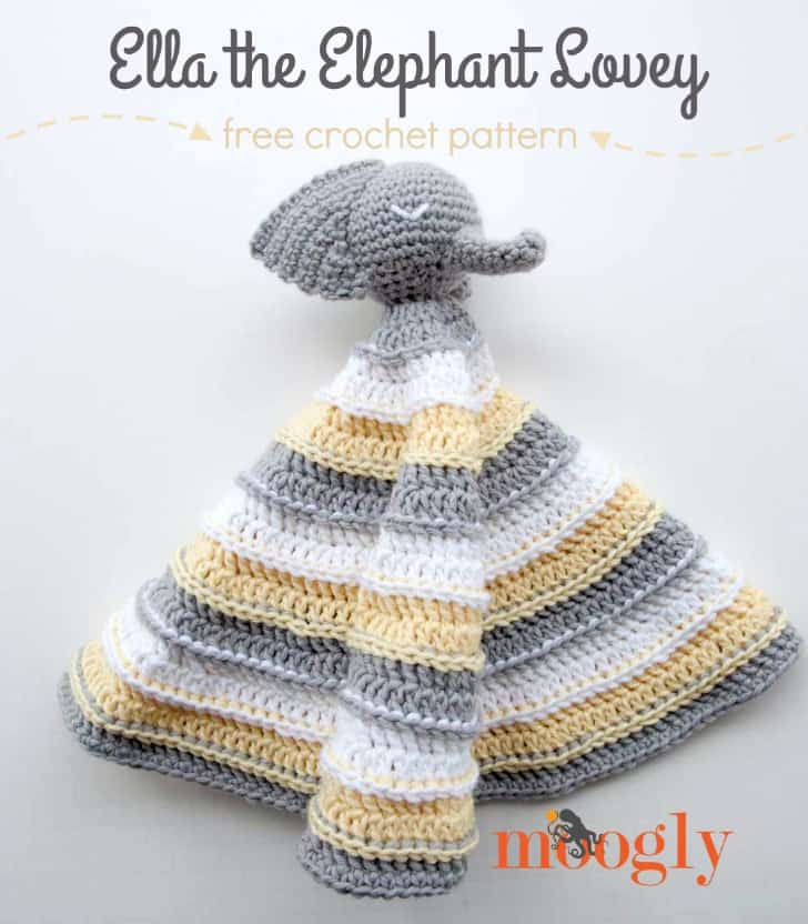 Elephant Lovey Blanket Free Crochet Pattern